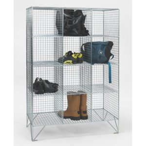 12 Compartment Wire Mesh Lockers No Doors