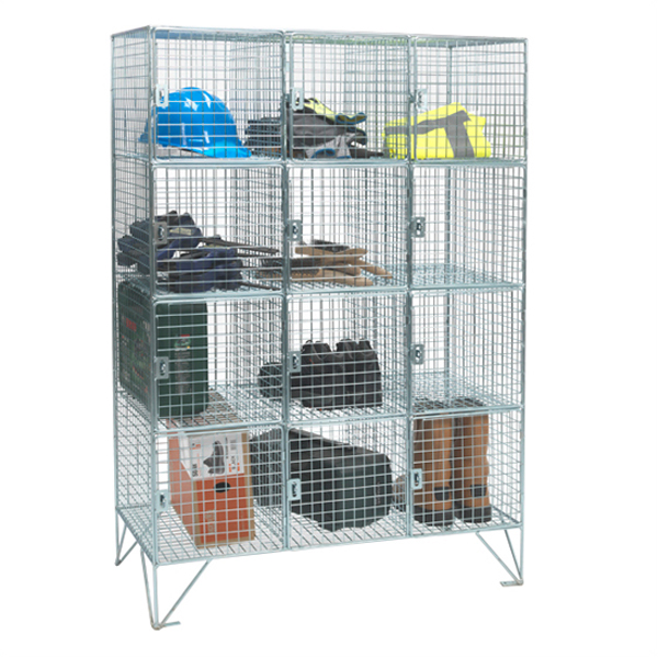 12 Compartment Wire Mesh Lockers With Doors by AMP Wire Ltd