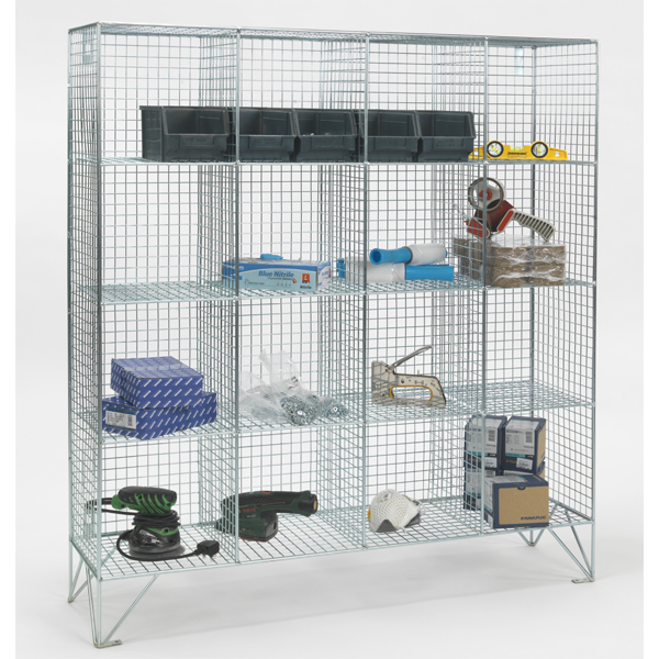 16 Compartment Wire Mesh Lockers No Doors