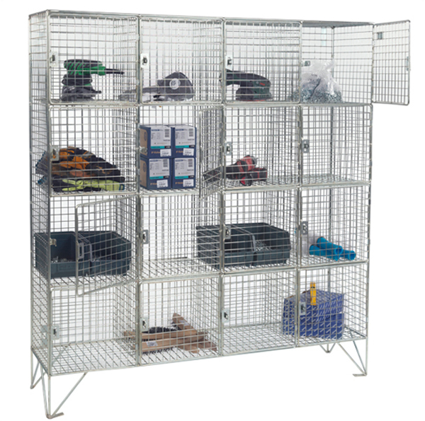 16 Compartment Wire Mesh Lockers With Doors by AMP Wire Ltd