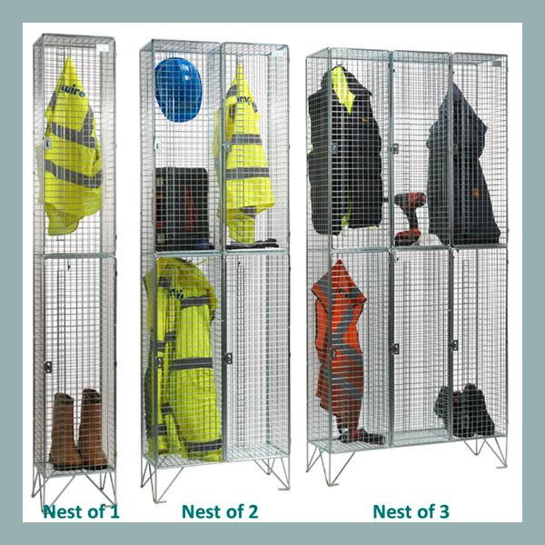 2 Door Wire Mesh Lockers Nested