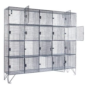 20 Compartment Wire Mesh Lockers With Doors (Empty)