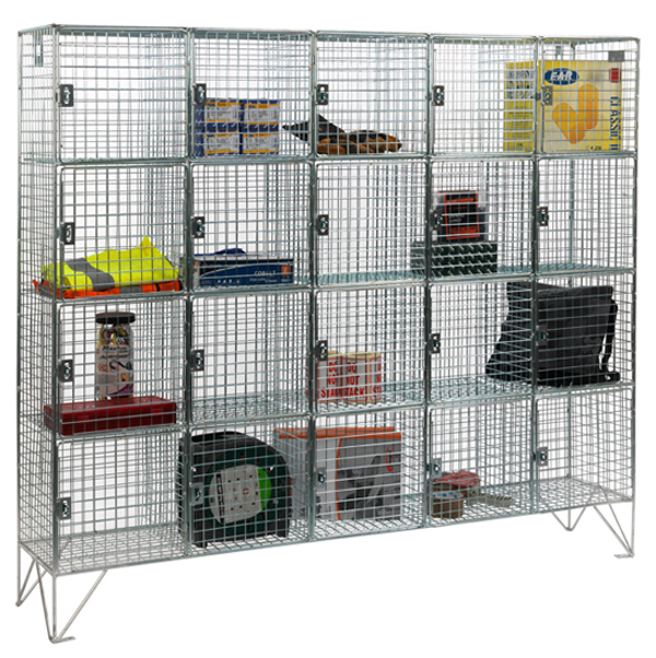 20 Compartment Wire Mesh Lockers With Doors by AMP Wire Ltd