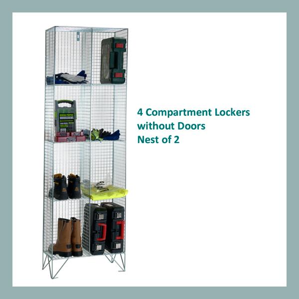 4-Comp-Wire-Mesh-Locker-Nest-of-2-No-Doors