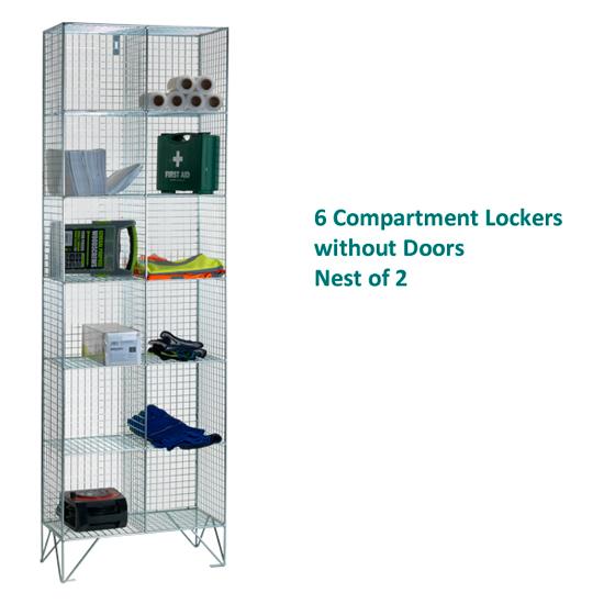 6-Comp-Wire-Mesh-Locker-Nest-of-2-No-Doors