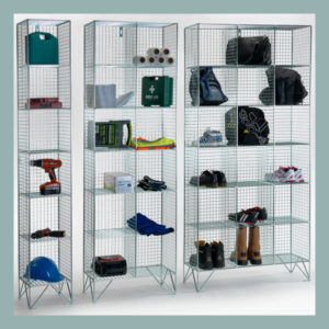 6 Compartment Wire Mesh Lockers No Doors