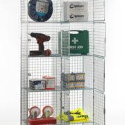 6 Door Nest of 2 Wire Mesh Locker - Open