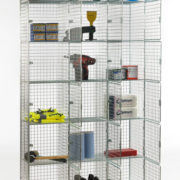 6 Door Nest of 3 Wire Mesh Locker - Open