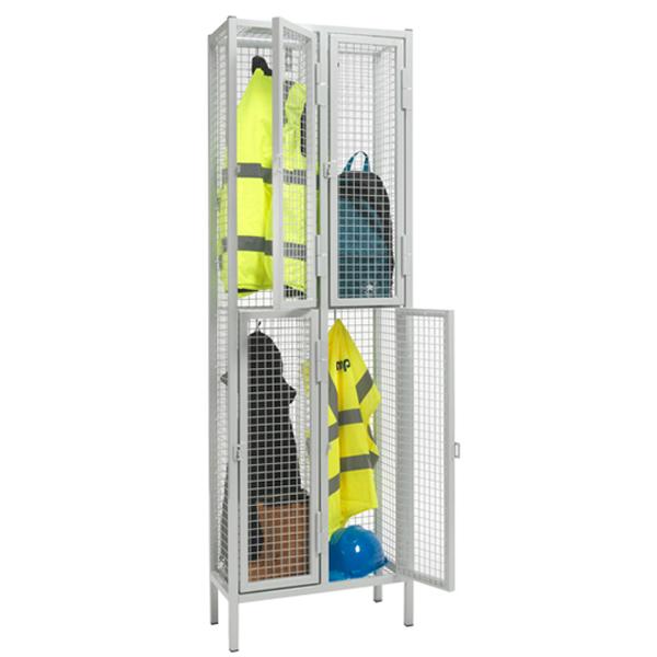 Heavy Duty 2 Door Nest of 2 Wire Mesh Lockers by AMP Wire Ltd