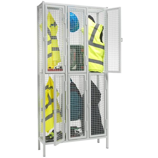 Heavy Duty 2 Door Nest of 3 Wire Mesh Lockers by AMP Wire Ltd