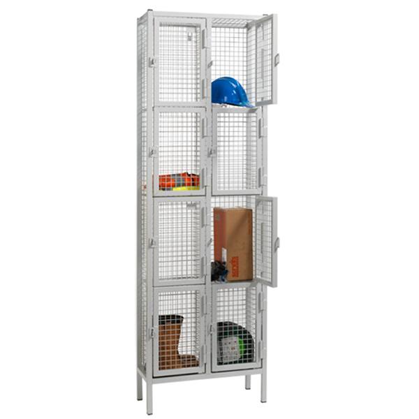 4 Door Nest of 2 Wire Mesh Emergency Service Lockers by AMP Wire Ltd