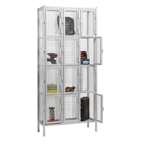 4 Door Nest of 3 Wire Mesh Emergency Service Lockers by AMP Wire Ltd