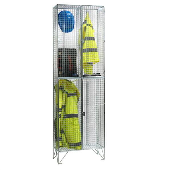 Wire Mesh 2 Door Nest of 2 Wire Mesh Lockers by AMP Wire Ltd