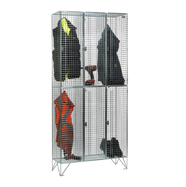 Wire Mesh 2 Door Nest of 3 Wire Mesh Lockers by AMP Wire Ltd