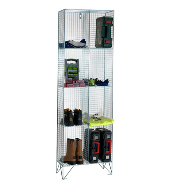 Wire Mesh 4 Comp Nest of 2 Wire Mesh Lockers by AMP Wire Ltd