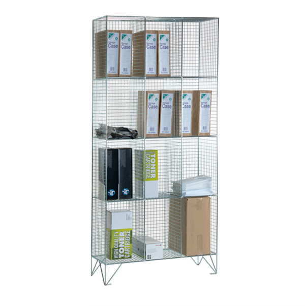 Wire Mesh 4 Comp Nest of 3 Wire Mesh Lockers by AMP Wire Ltd