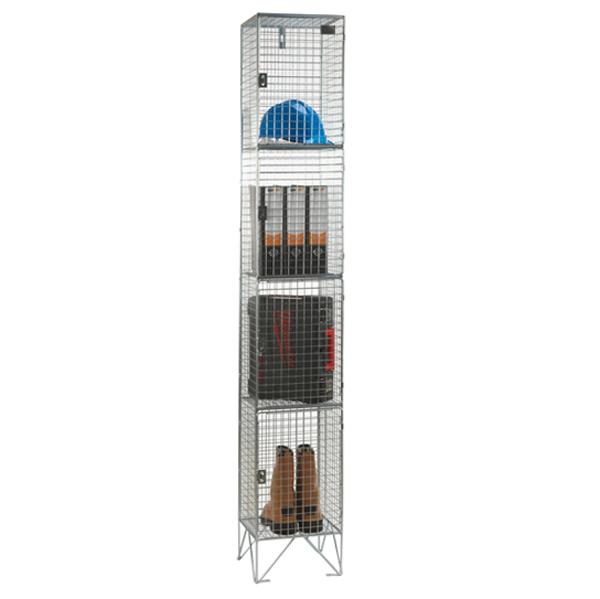 Wire Mesh 4 Door Nest of 1 Wire Mesh Lockers by AMP Wire Ltd