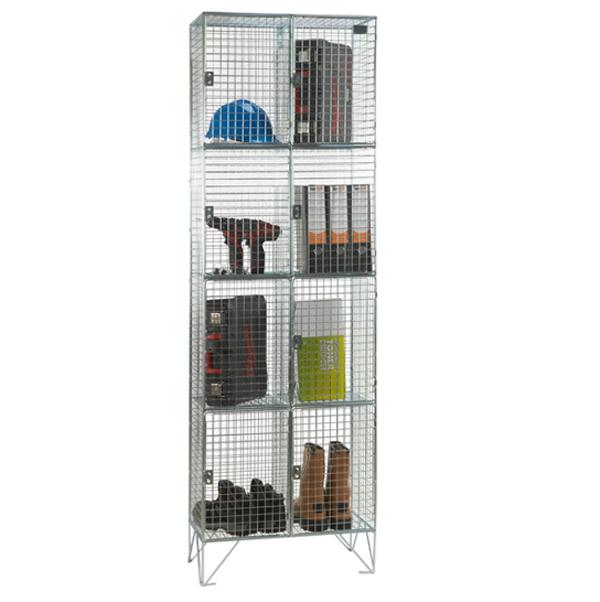 Wire Mesh 4 Door Nest of 2 Wire Mesh Lockers by AMP Wire Ltd