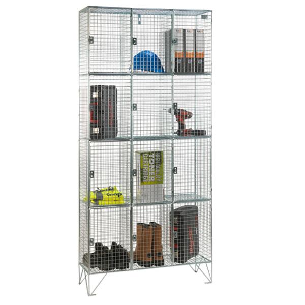 Wire Mesh 4 Door Nest of 3 Wire Mesh Lockers by AMP Wire Ltd