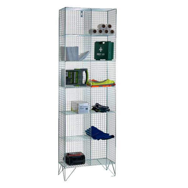 Wire Mesh 6 Comp Nest of 2 Wire Mesh Lockers by AMP Wire Ltd