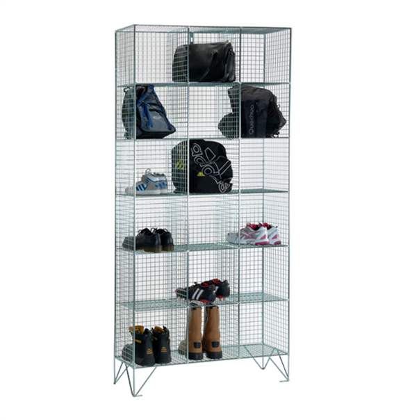 Wire Mesh 6 Comp Nest of 3 Wire Mesh Lockers by AMP Wire Ltd