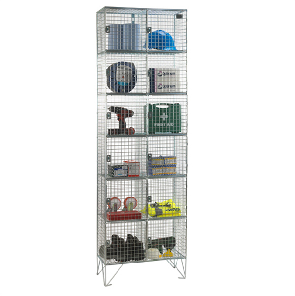 Wire Mesh 6 Door Nest of 2 Wire Mesh Lockers by AMP Wire Ltd