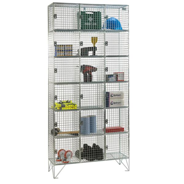 Wire Mesh 6 Door Nest of 3 Wire Mesh Lockers by AMP Wire Ltd