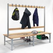 2000mm Double Sided Bench with Hooks & Shoe Trays