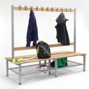 2000mm Double Sided Bench with Hooks, Shoe Tray & Adjustable Feet