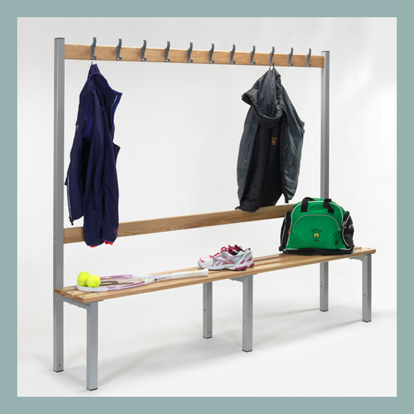 Changing-Room-Bench-with-Hooks-2000mm