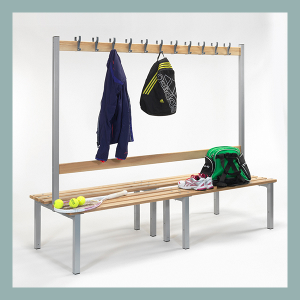 Changing-Room-Island-Bench-with-Hooks-2000mm