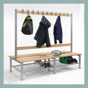 Changing-Room-Island-Bench-with-Hooks-&-Shoe-Shelf-2000mm
