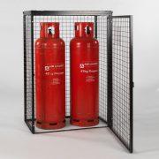 Cylinder Cage for 2 x 47kg cylinders (Black) Open Door