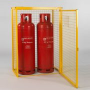 Cylinder Cage for 2 x 47kg cylinders (Yellow) Open Door