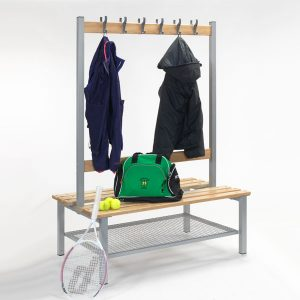 Double Sided Bench with Hooks & Shoe Trays