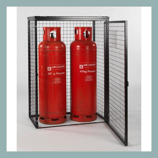 Gas-Cylinder-Cage-2-x-47-kg-Black-Powder-Open-Door