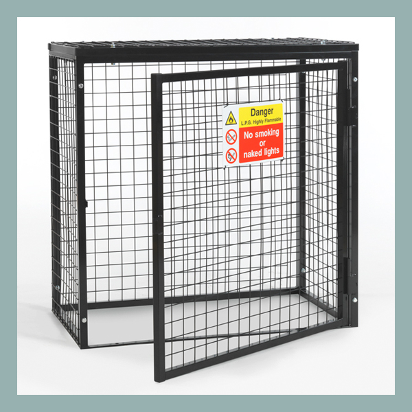 Gas-Cylinder-Cage-3-x-19kg-Black-Powder-Door-Open