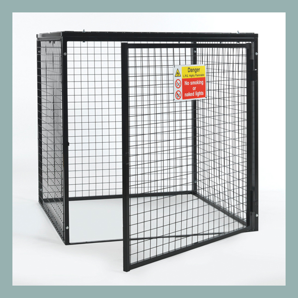 Gas-Cylinder-Cage-9-x-19kg-Black-Powder-Door-Open
