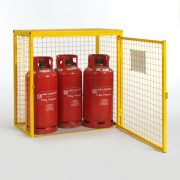 Gas Cylinder Cage for 3 x 19kg cylinders (Yellow) Open Door