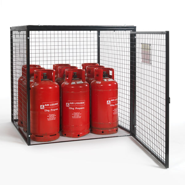 Gas Cylinder Cage for 9 x 19kg cylinders (Black) Open Door