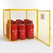 Gas Cylinder Cage for 9 x 19kg cylinders (Yellow) Open DoorGas Cylinder Cage for 9 x 19kg cylinders (Yellow) Open Door