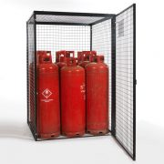 Gas Cylinder Cage for 9 x 47 kg Cylinders (Black) Open Door