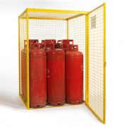 Gas Cylinder Cage for 9 x 47 kg Cylinders (Yellow) Open Door