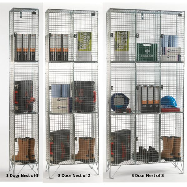 3 Door Wire Mesh Lockers