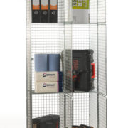 3 Door Nest of 2 Wire Mesh Locker - Open