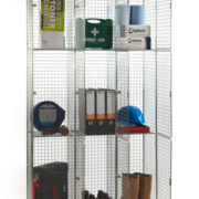3 Door Nest of 3 Wire Mesh Locker - Open