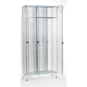 1 Door 304 Stainless Steel Wire Mesh Lockers Nest of 3