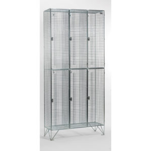 2 Door 304 Stainless Steel Wire Mesh Lockers Nest of 3