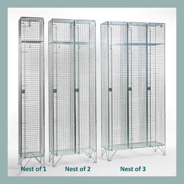 304 Stainless Steel 1 Door Wire Mesh Lockers Nested