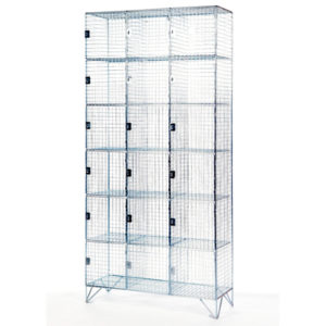 6 Door 304 Stainless Steel Wire Mesh Lockers Nest of 3